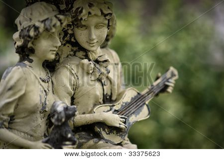 Antique Couple Statue With Minstrel