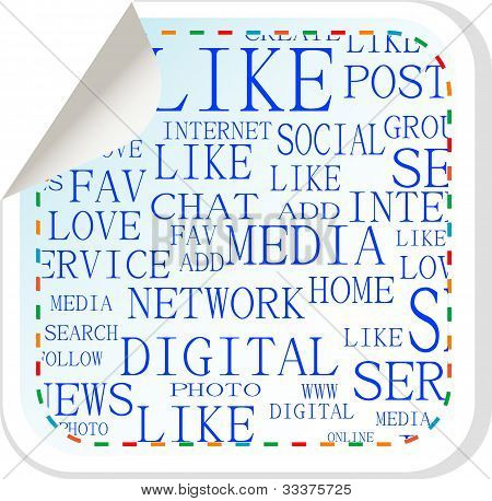 Social Media Button - Label Sticker