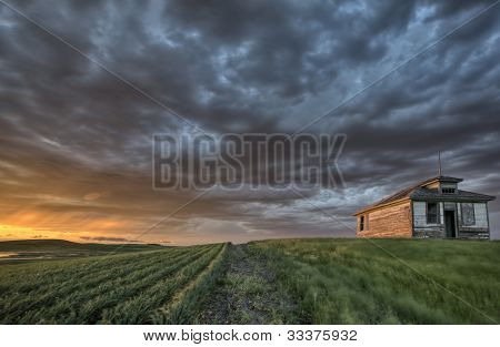 Old School House And Sunset