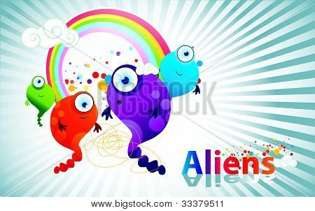 fun aliens vector