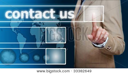 Hand Pressing Contact Us Button