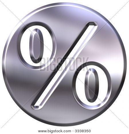 3D Silver Framed Percentage Symbol