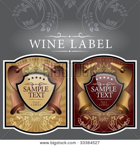 etiqueta de vino con una cinta dorada