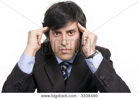 Young Businessman Over A Desk, Full Of Thoughts