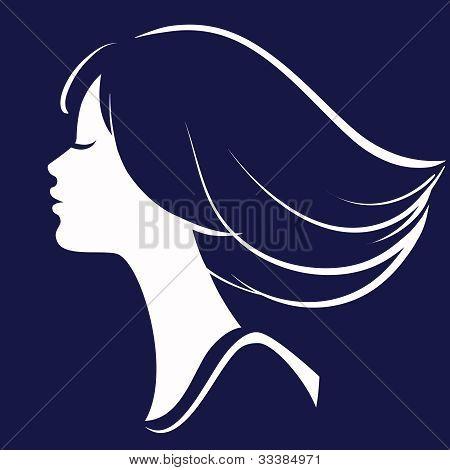 Beautiful Girl Face Silhouette, Vector Illustration
