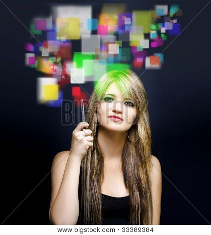 Woman Accessing Digital Media With Touch Screen