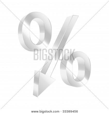 Dropping Percent Symbol. Vector Illustration