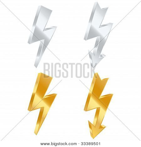 Lightning Bolt Icons. Vector Illustration