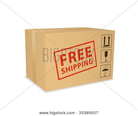 Free Shipping Box. Vector Illustration