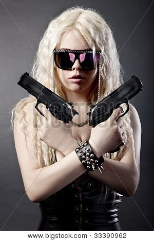 Beautiful Sexy Girl With Guns
