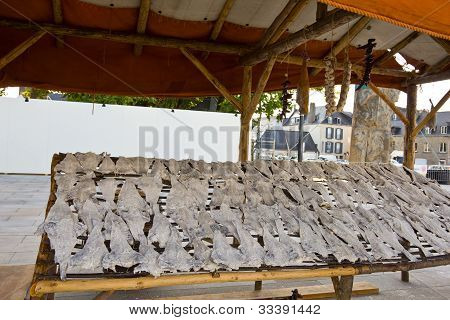 Dry salted fishes stand