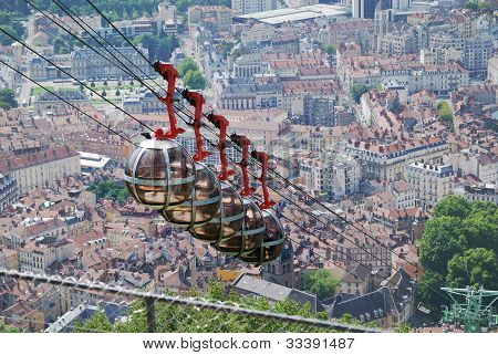 Cable Cars Over The City Grenoble.