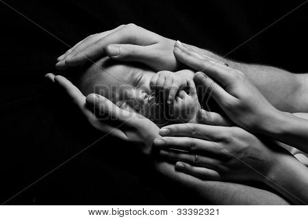 Newborn Baby Sleeping Into Parents Hands. Concept: Kids Protection By Parents. Closeup. Monochrome.