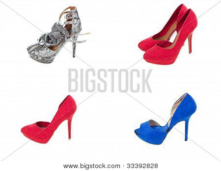 Collage Of Various Woman Fashion Shoes Isolated On White Background
