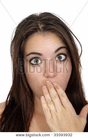 Attractive Embarrassed Brunette (1)