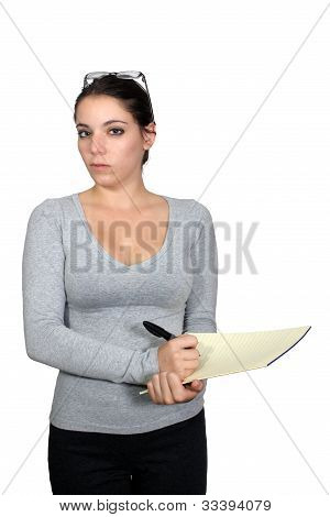 Casual Businesswoman With Notepad (1)