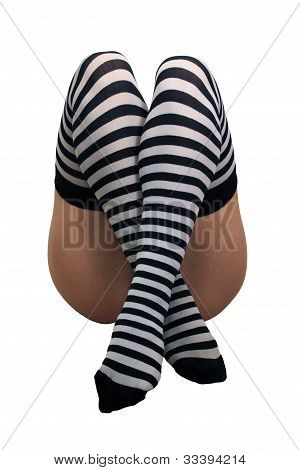 Female Legs With Striped Stockings (2)