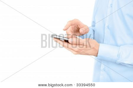 Man Using A Mobile Phone Isolated