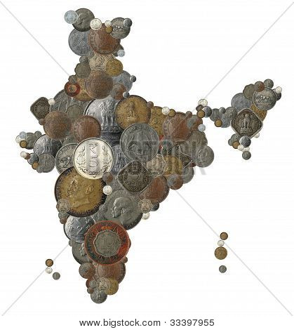 Indian Country Map Made With Old, New India Coins