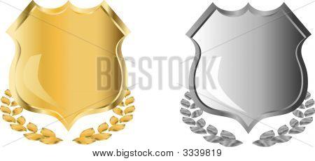 goldenen und silbernen Schild mit Lorbeerkranz