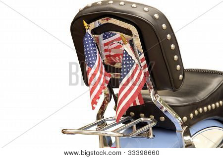 Motorcycle With Flags