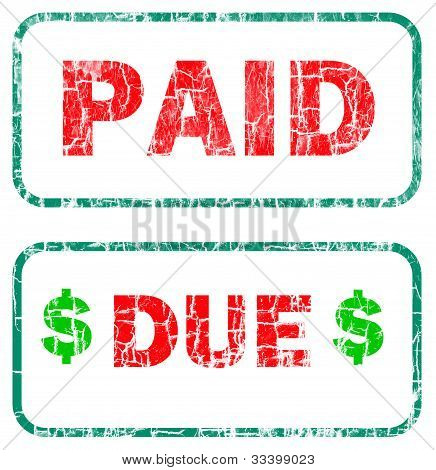 Paid And Due Stamp Sign