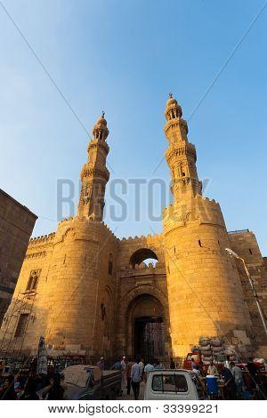 Bab Zuweila Gateway Minarets Traffic People