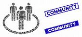 Mosaic Community Icon And Rectangle Seal Stamps. Flat Vector Community Mosaic Pictogram Of Randomize poster