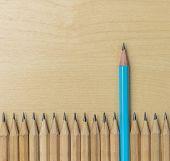 Different Pencil Standout Show Leadership Concept. poster