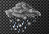Rain Cloud With Wet Snow Weather Meteo Icon Vector Illustration. Realistic Falling Water Drops And S poster