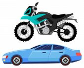 Sport Car Isolated Transportation. Vehicle Transport Of Cool Modern Type And Shape. Motorbike And Bi poster