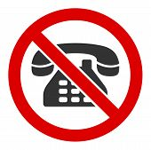 No Telephone Raster Icon. Flat No Telephone Symbol Is Isolated On A White Background. poster