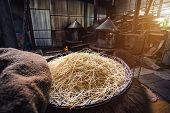 Yellow Noodles Or mee Sua Food Drying In On Basket In Noodle Making Factory Thai Style, Chinese No poster