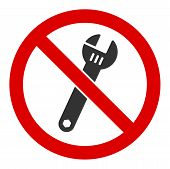 No Spanner Raster Icon. Flat No Spanner Pictogram Is Isolated On A White Background. poster