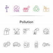 Pollution Line Icon Set. Exhaust Fumes, Waste Bin, Factory, Fire Hazard. Environment Concept. Can Be poster