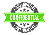 Confidential Round Stamp With Green Ribbon. Confidential poster