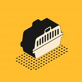 Isometric Pet Carry Case Icon Isolated On Yellow Background. Carrier For Animals, Dog And Cat. Conta poster