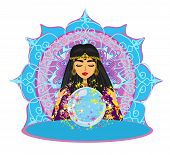 Fortune Teller Woman Reads The Future From The Crystal Ball , Vector Illustration poster
