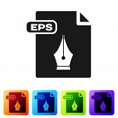 Black Eps File Document. Download Eps Button Icon Isolated On White Background. Eps File Symbol. Set poster