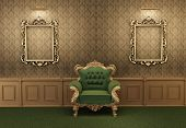 image of pompous  - Armchair with luxurious frame in baroque interior - JPG