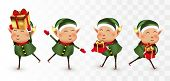 Collection Of Christmas Elves Isolated On Transparens Background. Little Elves. Santas Helpers. Elve poster