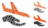 Aviation Support Hand Mosaic Of Tremulant Items In Different Sizes And Color Tints, Based On Aviatio poster