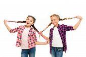 Such A Long Hair. Happy Little Girls Wear Plaited Hair. Cute Small Childred Hold Hair Braids. Luxuri poster