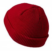 Docker Knitted Red Hat Isolated On White Background. Fashionable Rapper Hat. Hat Fisherman Back Side poster