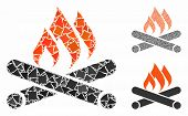 Campfire Composition Of Uneven Elements In Variable Sizes And Color Tints, Based On Campfire Icon. V poster