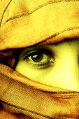 stock photo of arabic woman  - young woman close up portrait studio picture - JPG