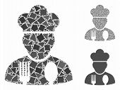 Cook Profession Mosaic Of Humpy Pieces In Variable Sizes And Color Hues, Based On Cook Profession Ic poster
