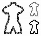 Body Mosaic Of Tuberous Items In Variable Sizes And Color Tints, Based On Body Icon. Vector Irregula poster