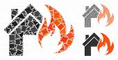 Home Fire Disaster Mosaic Of Tremulant Parts In Various Sizes And Color Tints, Based On Home Fire Di poster