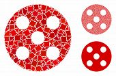 Round Dice Composition Of Rough Elements In Different Sizes And Shades, Based On Round Dice Icon. Ve poster